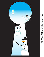 Print - A view of snowmen approaching through a keyhole
