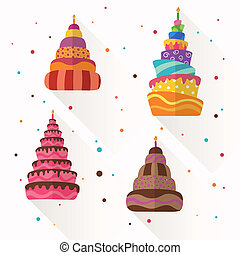 Vector Abstract Birthday Cakes - Vector Illustration of...