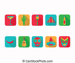 Vector Flat Mexico Icons - Vector Illustration of Flat...