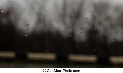 raindrops on a car windshield c