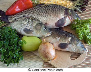 Carp fish close up on chopping board
