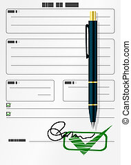Blank form with signature and pen