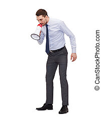 angry businessman with megaphone - business, communication...