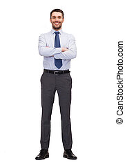 handsome buisnessman with crossed arm - business and office...