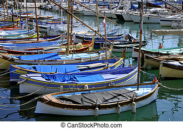 Small boats in the port of Nice - Closeup small boats in the...