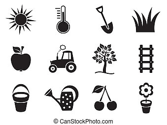 Garden icons - Black vector garden icons collection on white...