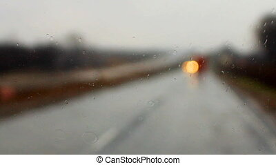 raindrops on a car windshield i - ride on the highway in the...