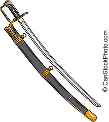 vector cavalry saber and scabbard isolated on white...