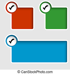 set of three text boxes with check box