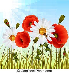Poppy grass seamless wallpaper - Red romantic poppy flowers...