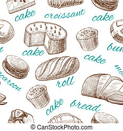 Baking pastry seamless wallpaper - Cake croissant bread roll...