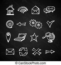 Internet chalkboard icons - Chalkboard internet icons set...