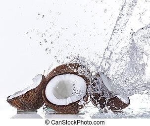 cocos, água, respingo