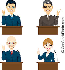 Politicians Speaking - Collection of four different...