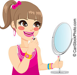 Little Girl Makeup - Cute little girl playing grown up with...