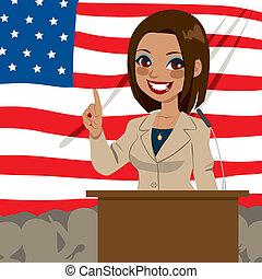africano, norteamericano, político, mujer, bandera