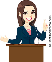 Politician Woman Speech - Young beautiful elegant politician...