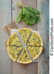 French quiche pie with spinach - Traditional french quiche...