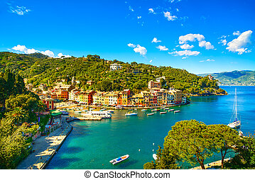 Portofino luxury landmark aerial panoramic view. Village and...