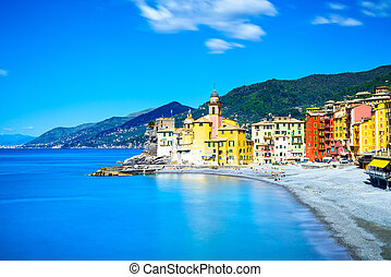 Camogli church on sea and beach view. Liguria, Italy -...
