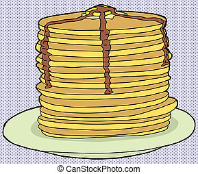 Stack of Flapjacks - Stack of delicious pancakes on halftone...