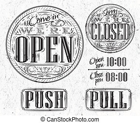 Set vintage open closed - Set of vintage symbol lettering...