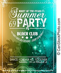 Summer Party Flyer for Music Club events for latin dance