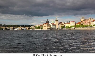 Novotny footbridge in Prague - View from Strelecky island of...