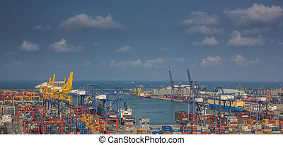 container port - Container Cargo freight ship with working...