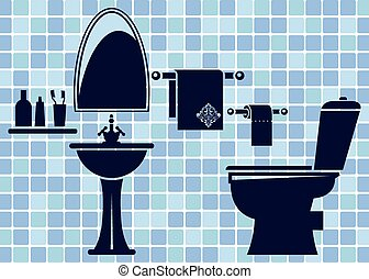 Blue bathroom interior. This is file of EPS10 format.
