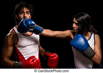 "Male and Female Boxers - Male and female boxers ""Battle of..."