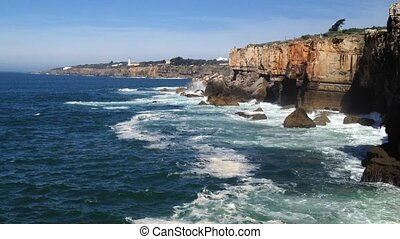 Cliffs at Cascais, Portugal - Landscape of cliffs at...