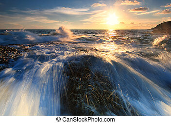 The big wave with sunset - The wave hit the rock at Khao...