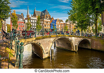 Amsterdam cityscape - Bridge over canal in Amsterdam