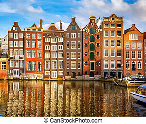 Old buildings in Amsterdam - Traditional old buildings in...