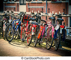 Bicycles in Amsterdam - Street bicycles in Amsterdam,...