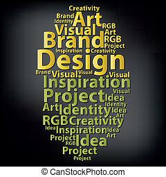 Text cloud. Design wordcloud. Typography concept. Vector...