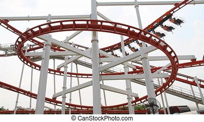 Roller coaster with blue sky - PATHUMTHANI - APRIL 6: Dream...