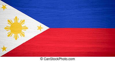 Philippines flag on wood texture