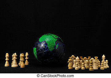 The Paradox Of Power - Globe And White Chess on a Black...
