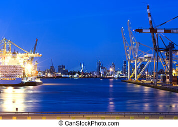 Rotterdam Harbor - The skyline of Rotterdam, the...