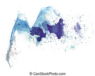 abstract drawing stroke ink blue watercolor brush water...
