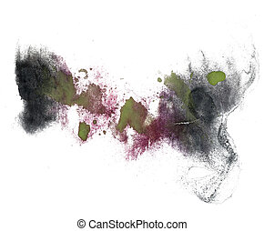 abstract drawing stroke black, green, purple ink watercolor...