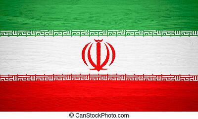 Iran flag on wood texture