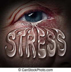 Human Stress - Human stress concept as an eye crying a tear...