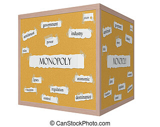 Monopoly 3D cube Corkboard Word Concept with great terms...