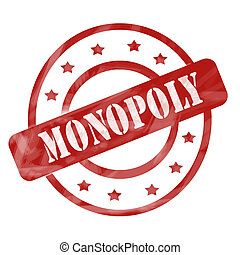 Monopoly Red Weathered Stamp Circles and Stars - A red ink...