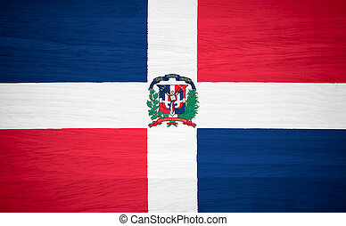 Dominican Republic flag on wood texture