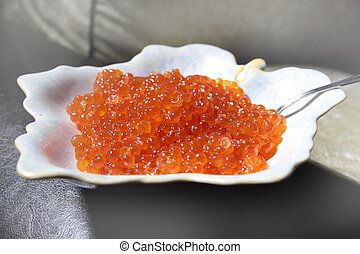 salmon caviar as an element of decoration delicate festive...