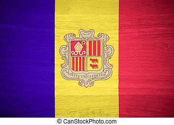Andorra flag on wood texture
